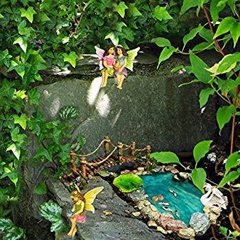 Fairy Garden Fish Pond Kit - Miniature Bridge Fairy Garden Figurines w