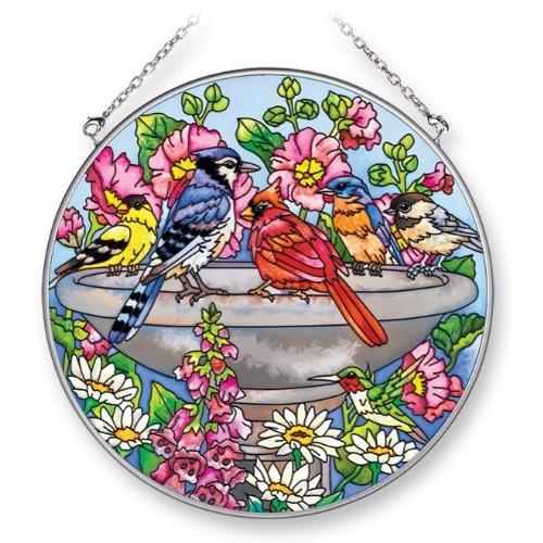 Amia 5324 Suncatcher Featuring Birds in a Birdbath, Hand Painted Glass