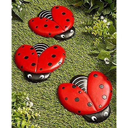 The Lakeside Collection Ladybug Stepping Stones for Gardens and Outdoo