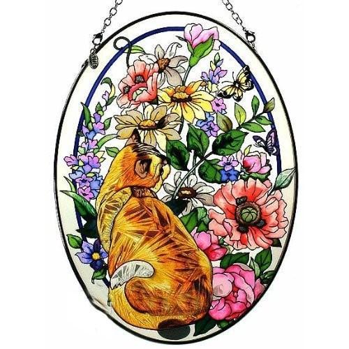 Amia Oval Suncatcher with Cat in Summer Summer Summer Garden Design, Hand Painted Gl cb1