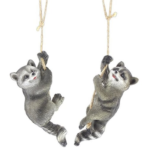 """Bundle of 2 2 2 Assorted Mayrich 4"""" Hanging Resin Raccoon Ornaments e8b"""