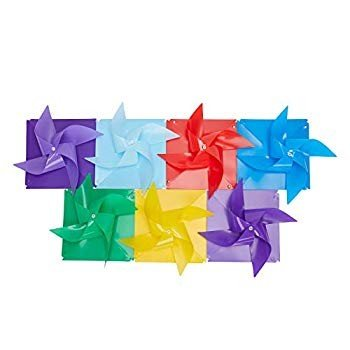 Tsocent Multi-Color Pinwheels Set (Pack of 100) - - - Outdoor Windmill for cad
