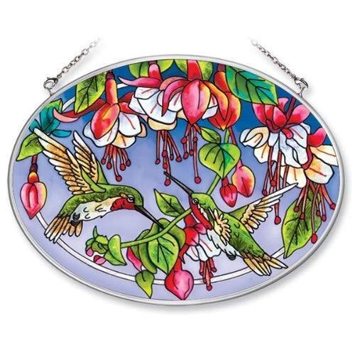 Amia 5669 Medium Oval Suncatcher with Hummingbird and Fuchsia Design,