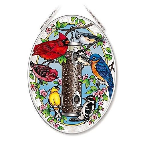 Amia Spring Feeding Feeding Feeding Songbird Glass Oval Suncatcher 61f