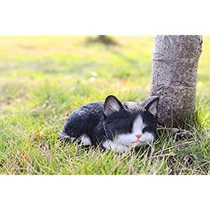 Hi- Line Gift 87699-B 87699-B 87699-B Kitten Sleeping 黒 & 白い Cat Statue 5bb