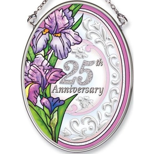 Amia Hand Painted Glass Suncatcher with 25th Anniversary Design, 3-1/4