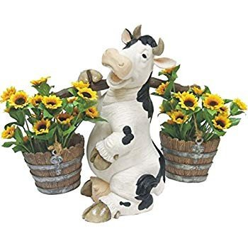 C&F Garden Decor Outdoor Polyresin Cow Planter Statue With Carrying Po