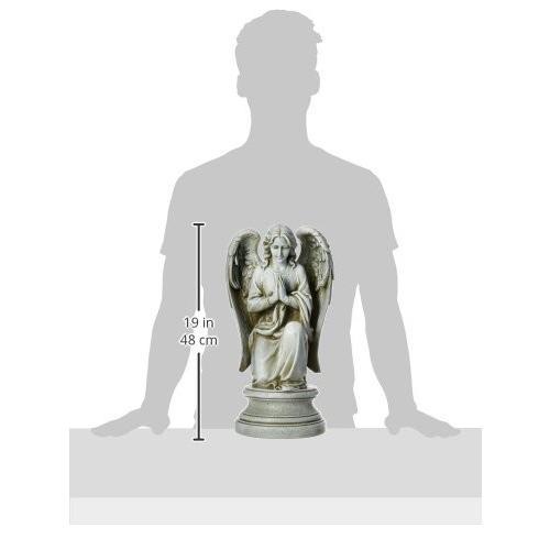 Joseph Studio 40063 Tall Praying Angel Kneeling on Pedestal Statue, 17