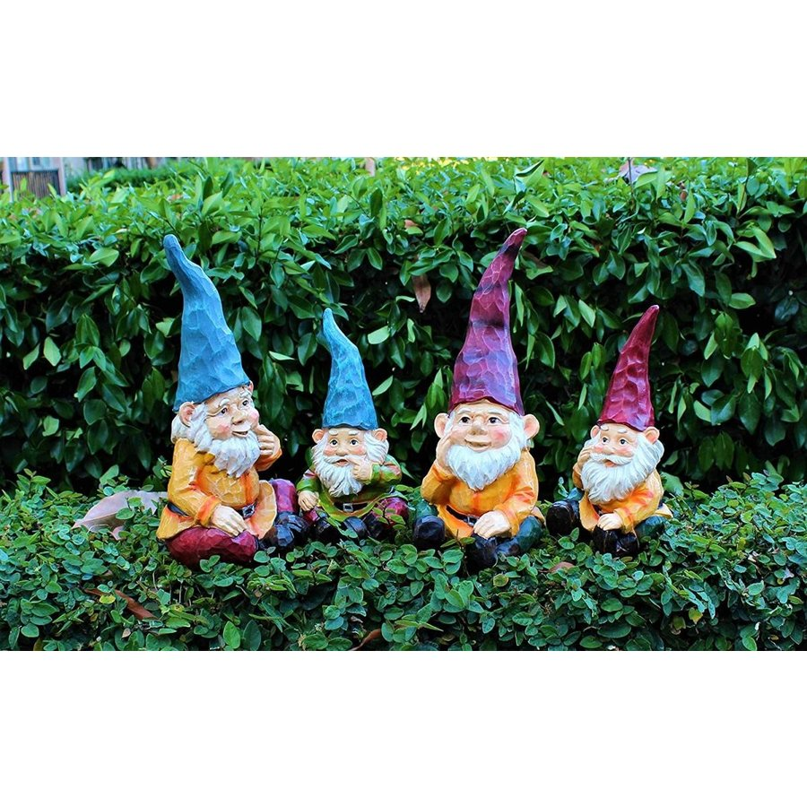Cute Cute Cute Wood Look Resin Colorful Sitting Garden Gnome Statue Indoor Outdo a76