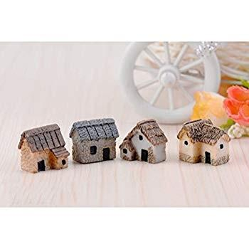 WINOMO 4PCS Miniature Gardening Landscape Micro Village Stone Houses T