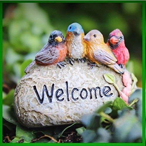 Fairy Garden Fun Accessory Welcome Cardinal Bird Bird Bird Rock Sign Figurine Mi 043