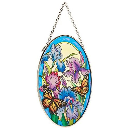 Amia Hand Painted Glass Suncatcher with Iris and Butterfly Design, Design, Design, 5-1 a78