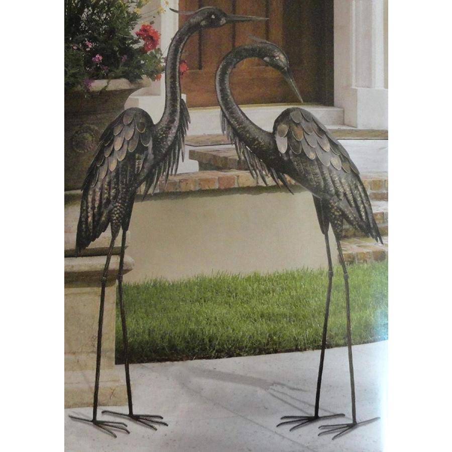 CHSGJY Vintage Bronze Heron Pair Metal Yard Art 3D Sculpture Bird Cran