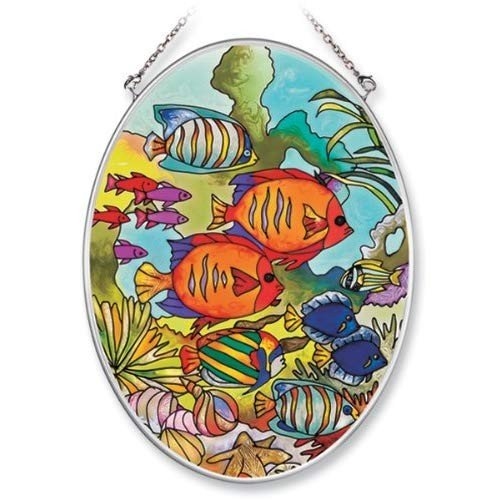 Amia Hand Painted Glass Suncatcher with Tropical Tropical Tropical Fish Design, 5-1/4-In 20c