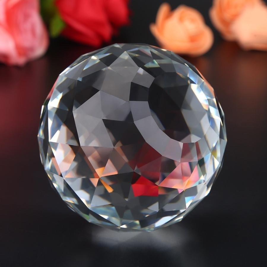 HEEPDD Clear Cut Crystal Crystal Crystal Glass Ball, 60/80mm Translucent Faceted Gazin ae5