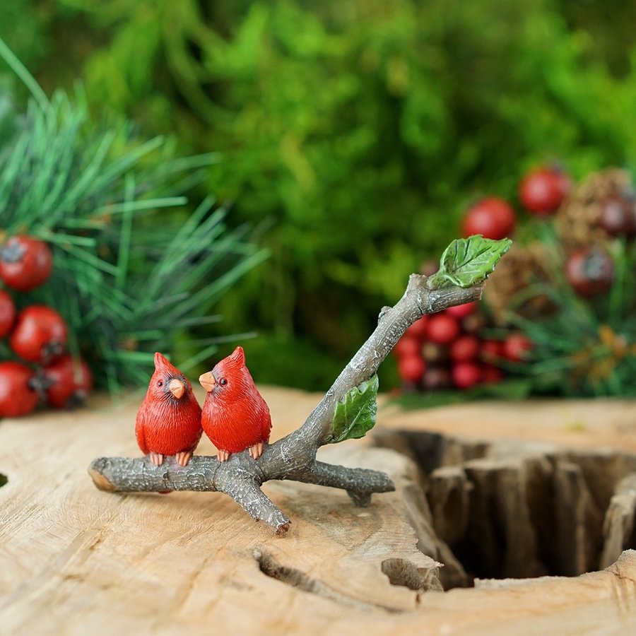 Top Collection Miniature Fairy Garden and Terrarium Cardinals on Branc