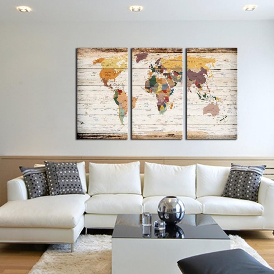Visual Art Decor Decor Decor XLarge 3 Piece Retro Wood Texture Map of World