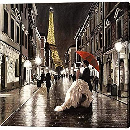 Kissing Kissing in Paris (Detail) by Pierre Benson Canvas Art Wall Picture, Ga