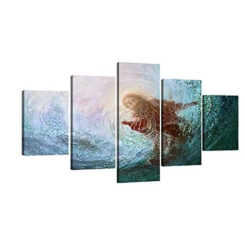 Large Jesus Under Water Teal 青 Canvas Prints Wall Wall Art Christ Poster
