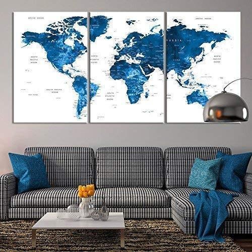 Large Wall Art Push Pin World Map Canvas Print - - - Extra Large Navy 青 ed4