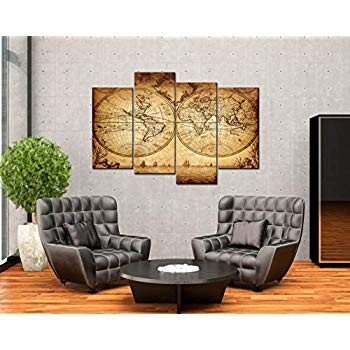 sechars - - Extra Large World Map Wall Art Vintage Map Painting Framed 4