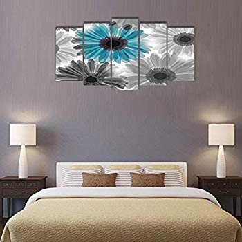 Visual Art Decor Large 5 Pieces Pieces Flowers Picture Wall Art Abstract Blac