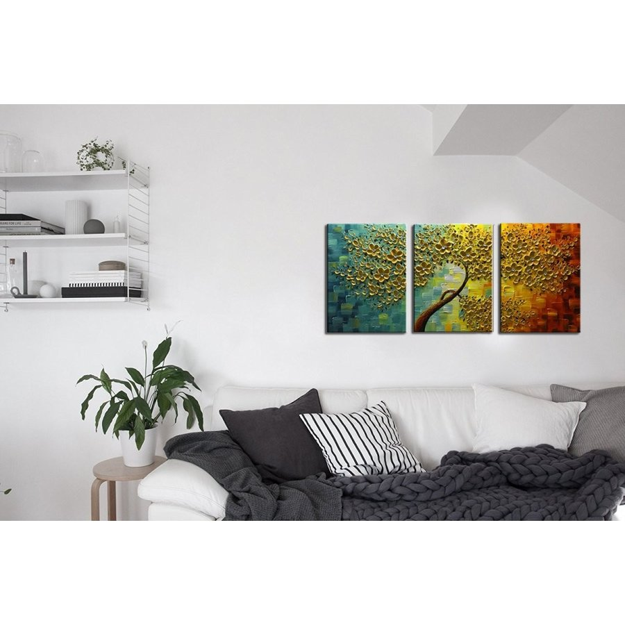 baccow baccow Oil Paintings 3 Panel Wall Art 28203, Abstract 3D Flowers Trees