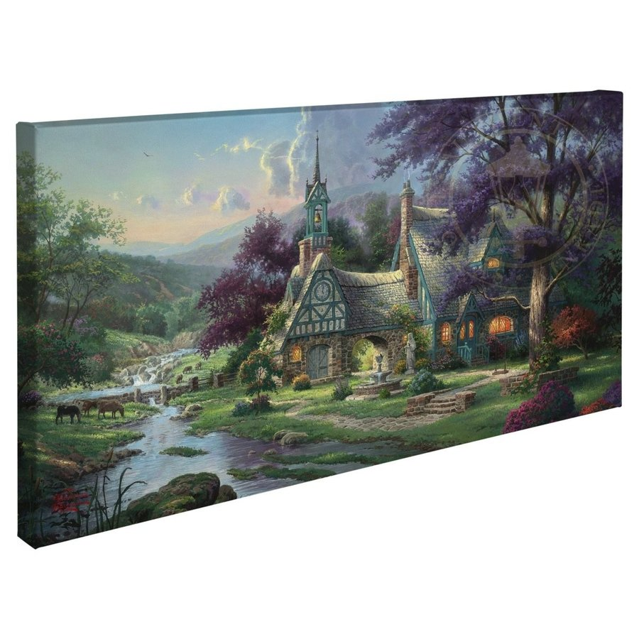 Thomas Thomas Kinkade Clocktower Cottage 16 x 31 Gallery Wrapped Canvas