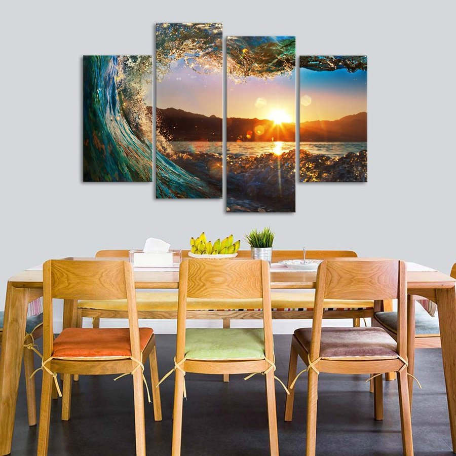 Sunset Wave Canvas Wall Art - - Ready to Hang - Lake & Mountains Picture