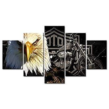 Bald Bald Eagles Motorcycle Wall Art Paintings 5 Panel Large Vintage Americ