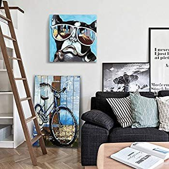 GoodPoint Art Hand Painted Canvas Oil Oil Oil Painting 3D Modern Dog Wall Art a98