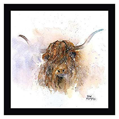 "Highland Cow by by A.V. Art - 27"" x 27"" 黒 Framed Giclee Canvas Art Pr"