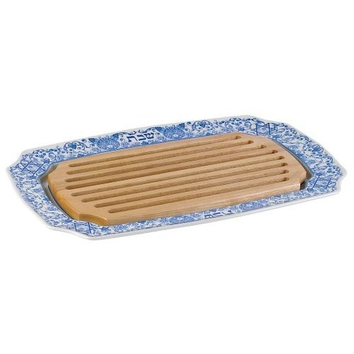 Spode Judaica Large Size Challah Challah Tray With Wooden Insert