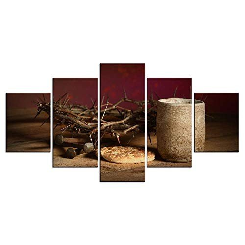LevvArts - 5 Piece Canvas Canvas Canvas Prints Wall Art Crown of Thorns Posters Holy 0e8