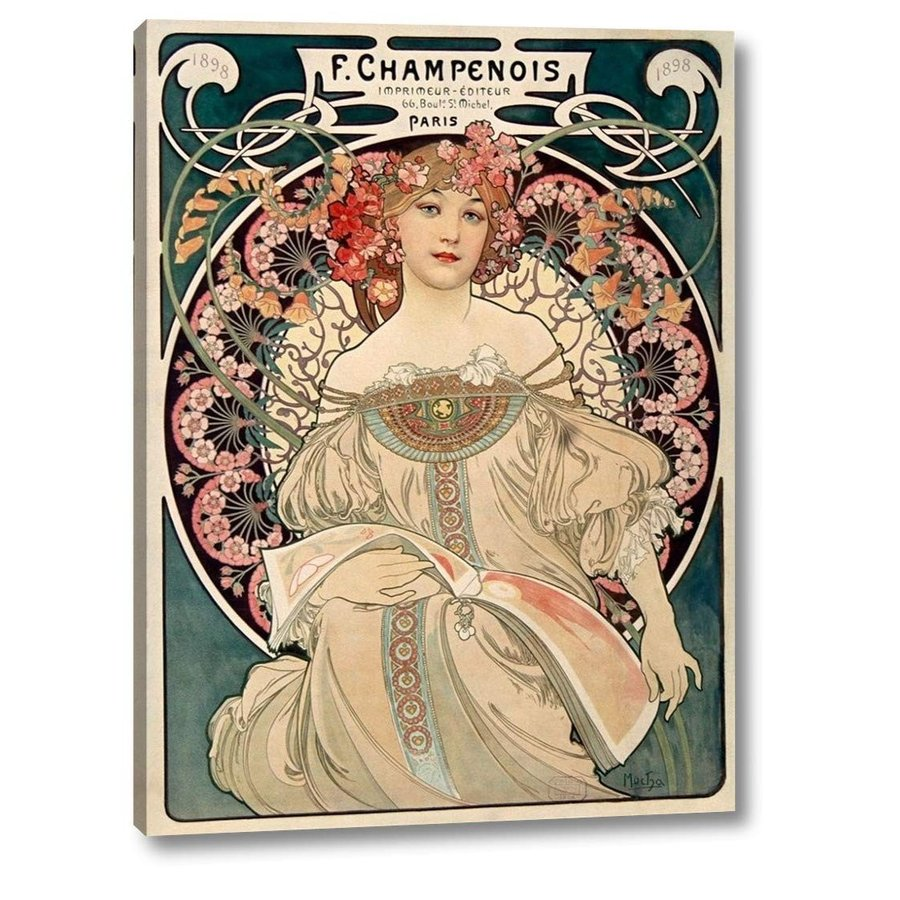 """F. Champenois Champenois by Alphonse Mucha - 28"""" x 38"""" Gallery Wrapped Giclee Can"""