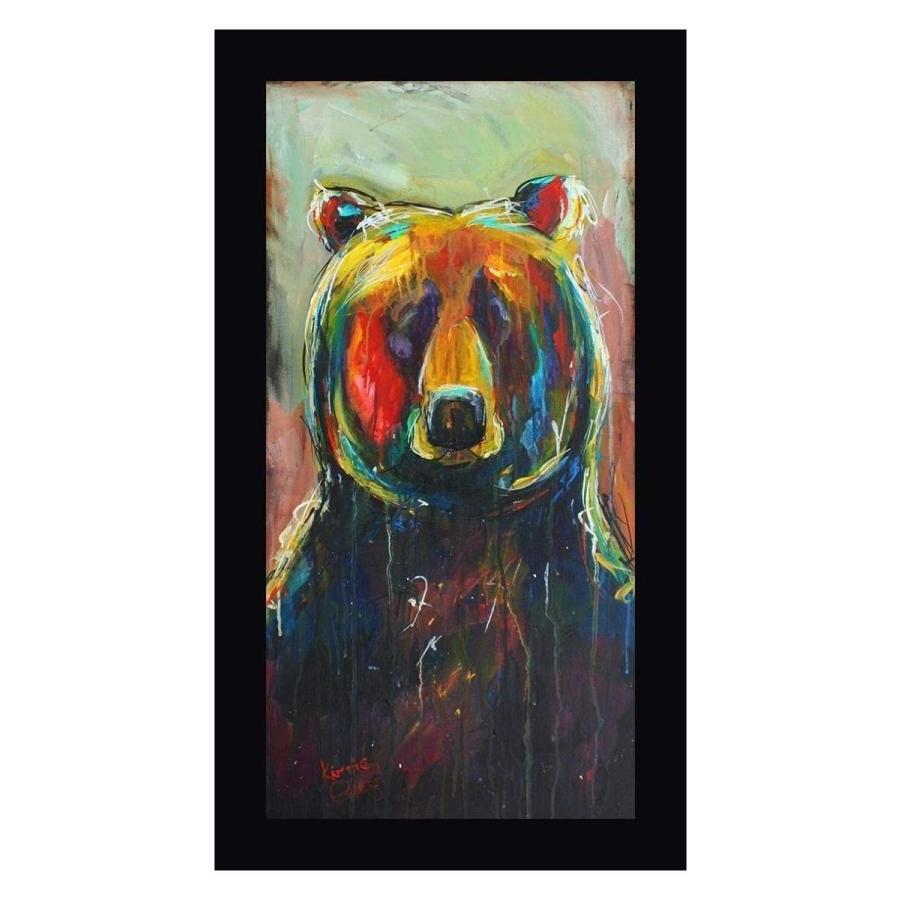 """Back Woods 黒 Bear by Karrie Evenson - - 22"""" x 39"""" 黒 Framed Gicle"""