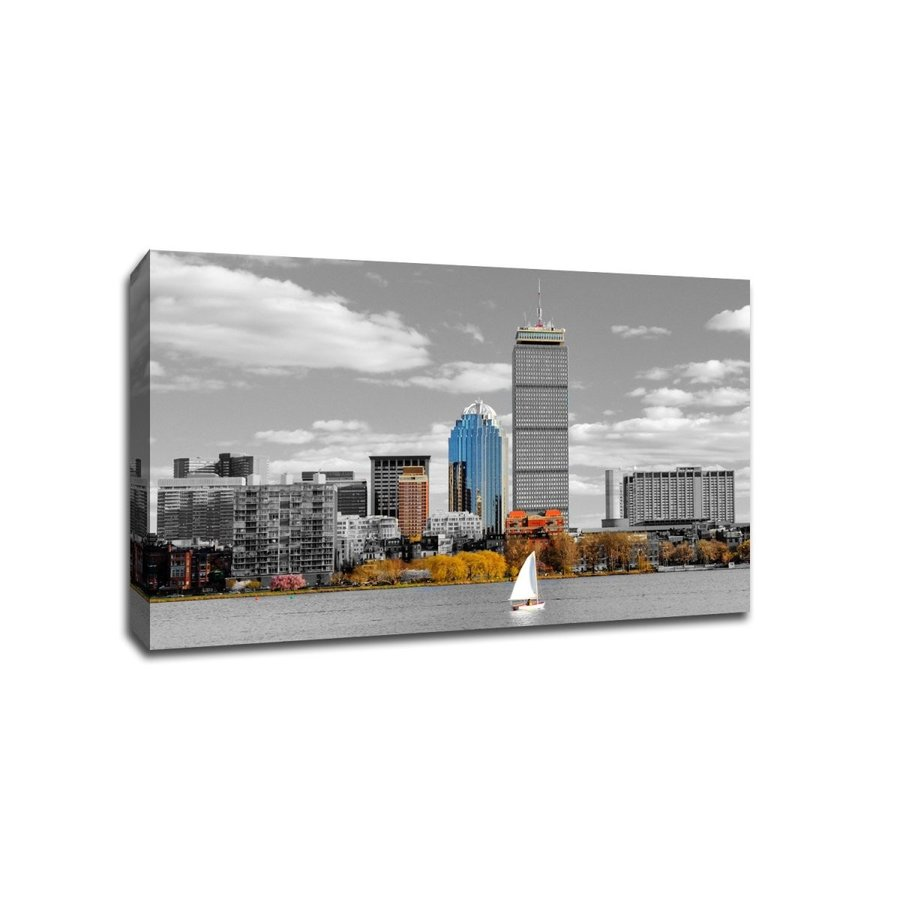Boston Boston Touch of Color Skyline 20x13 Gallery Wrapped Canvas Wall Art