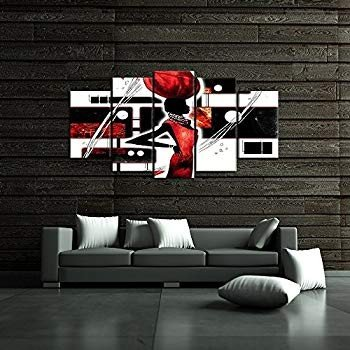 iKNOW iKNOW FOTO Large 5 Piece African American Canvas Wall Art 黒 and Re