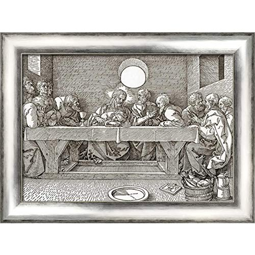 The Last Supper Supper 24x18 銀 Contemporary Wood Framed Canvas Art by Du