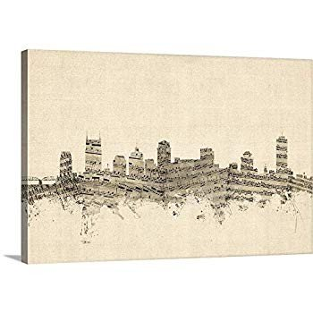 "Nashville Nashville Tennessee Skyline Canvas Wall Art Print, 48""x32""x1.25"""
