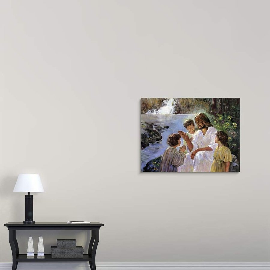 "Christ Christ and The Children Canvas Wall Art Print, 40""x30""x1.25"""