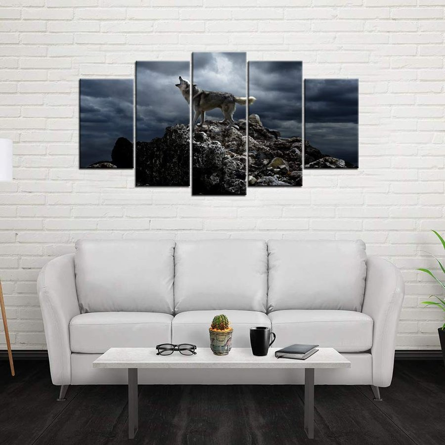 Biuteawal - 5 Piece Piece Wall Art Painting Storm Mountain Picture Prints on