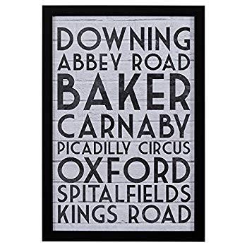 Modern 黒 & 白い London Street London Street Names Print Print Wall Art,