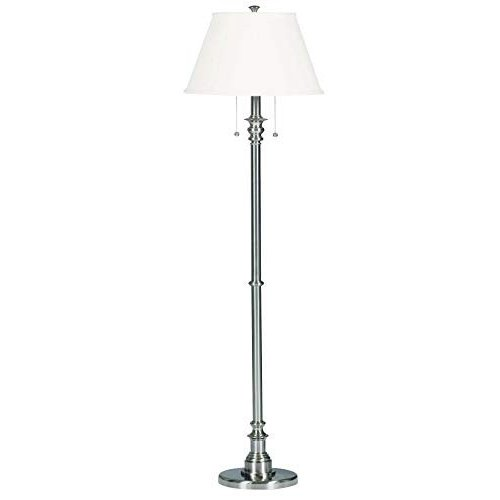 Kenroy Home Modern Brushed Steel Floor Lamp, Dual On/Off Pull Chains,