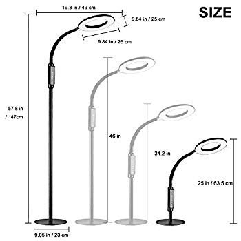 Floor Lamp 16W LED 2-in-1 Dimmable Reading Desk Lamp: with 4 Operation