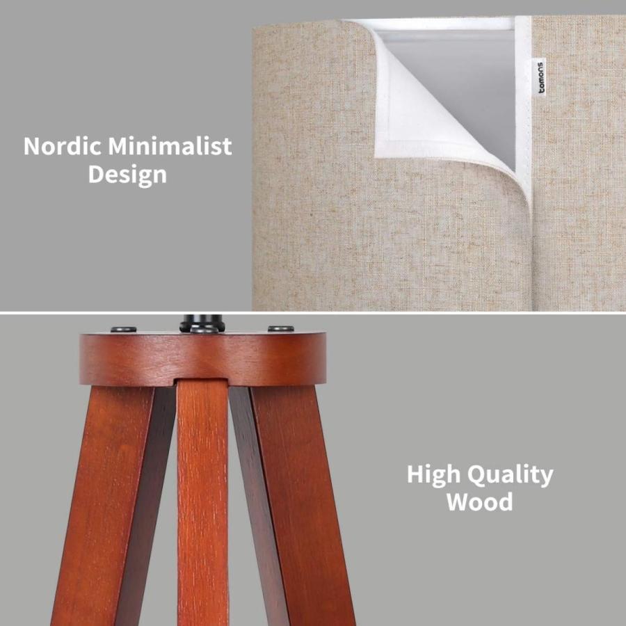 Tomons Wood Tripod Floor Lamp, Traditional Retro Style, Standing Light