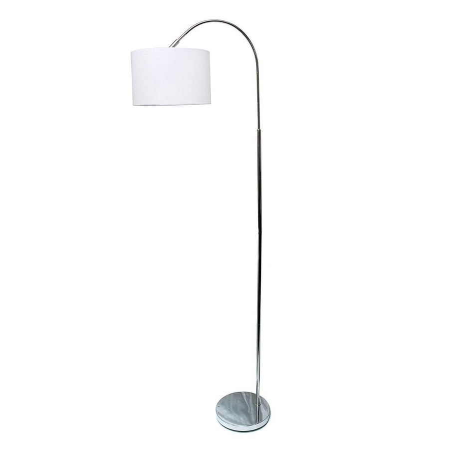 Simple Designs LF2005-WHT Brushed Nickel Arched Floor Lamp, 白い Shad