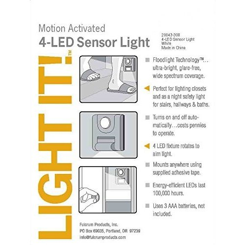 Light It By Fulcrum, LED Wireless Motion Sensor Light, 白い