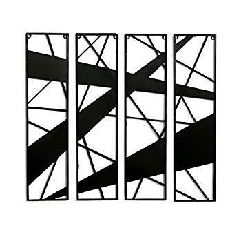 Decorlives Set of 4 Abstract Design 黒 Color Metal Wall Sculpture A