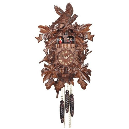 River City Clocks One Day Musical Cuckoo Clock with Hand Carved Birds,